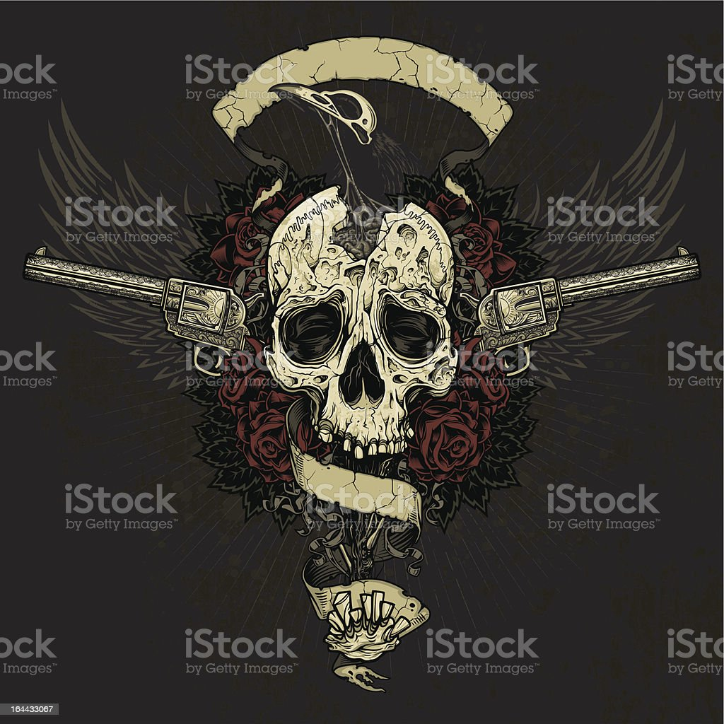 Raven Eating Skull Brains Collage royalty-free stock vector art