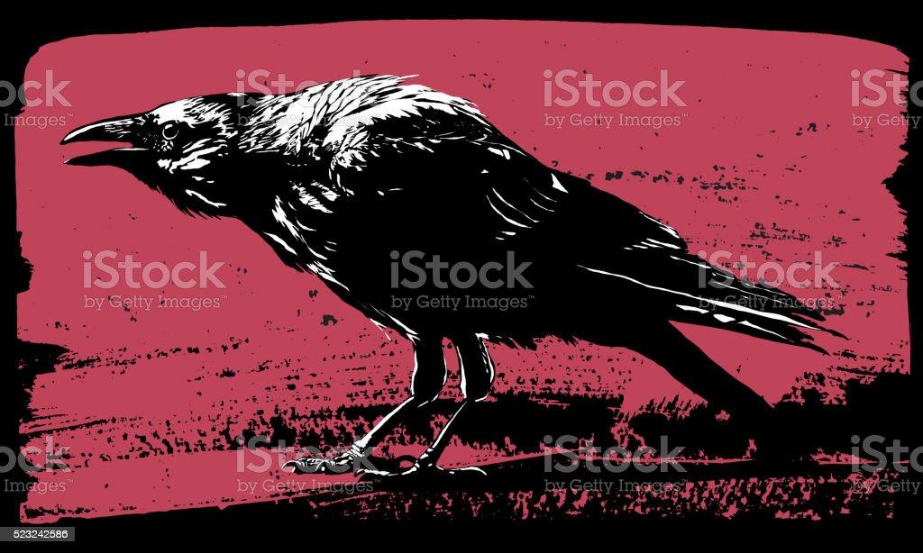 Raven illustration in grunge style vector art illustration