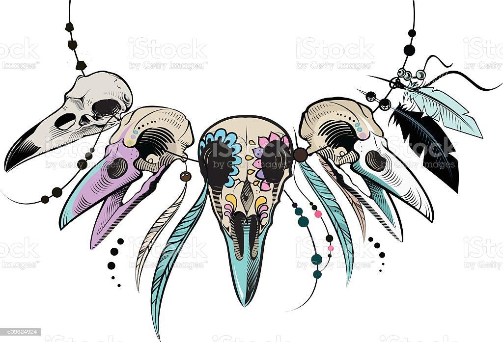 Raven Sugar Mexican Skull. Raven Skull. Vector illustration vector art illustration