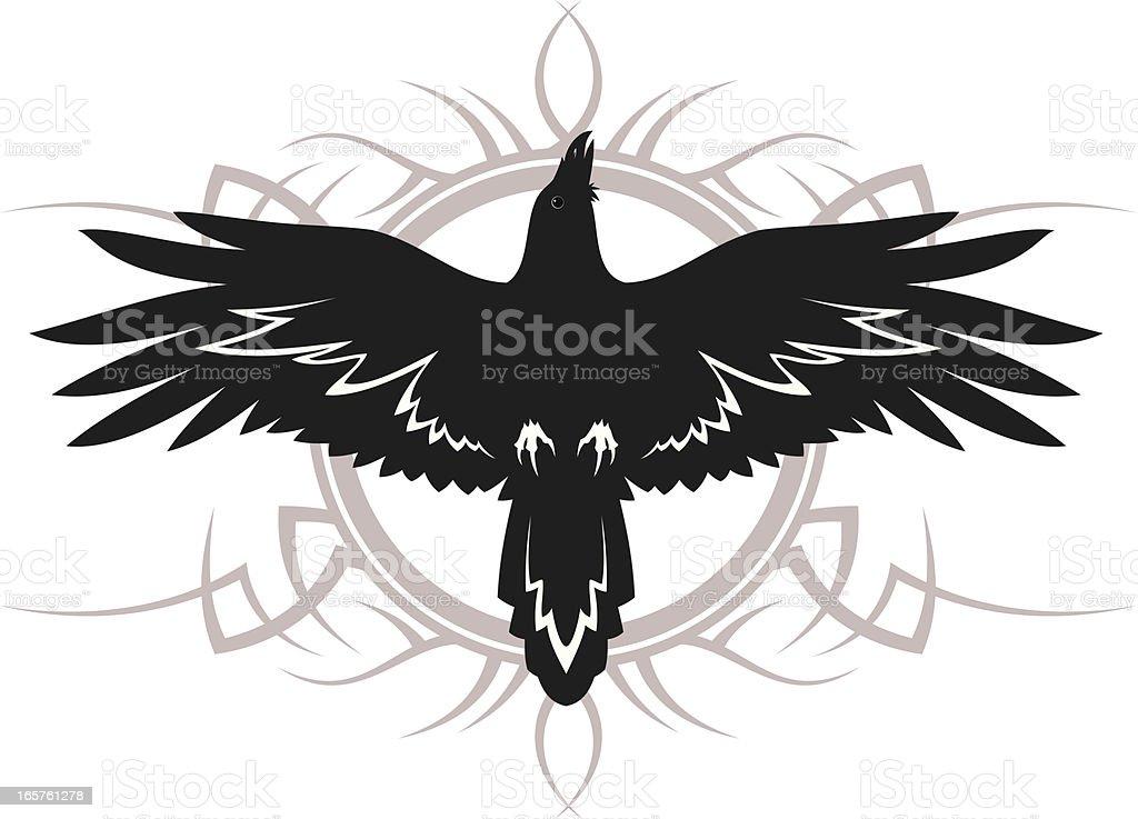 Raven tattoo royalty-free stock vector art
