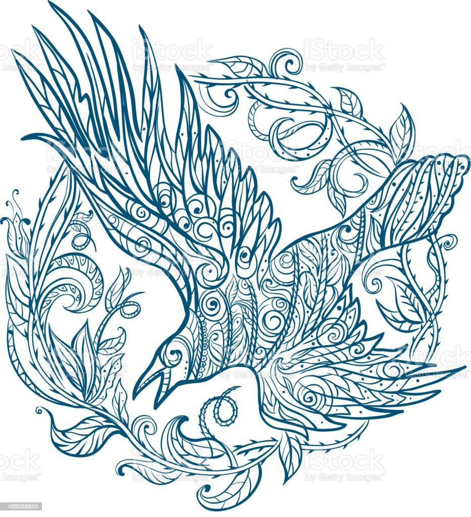 Raven tribal tattoo royalty-free stock vector art