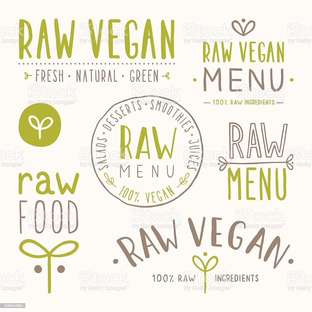 Raw vegan badges. vector art illustration