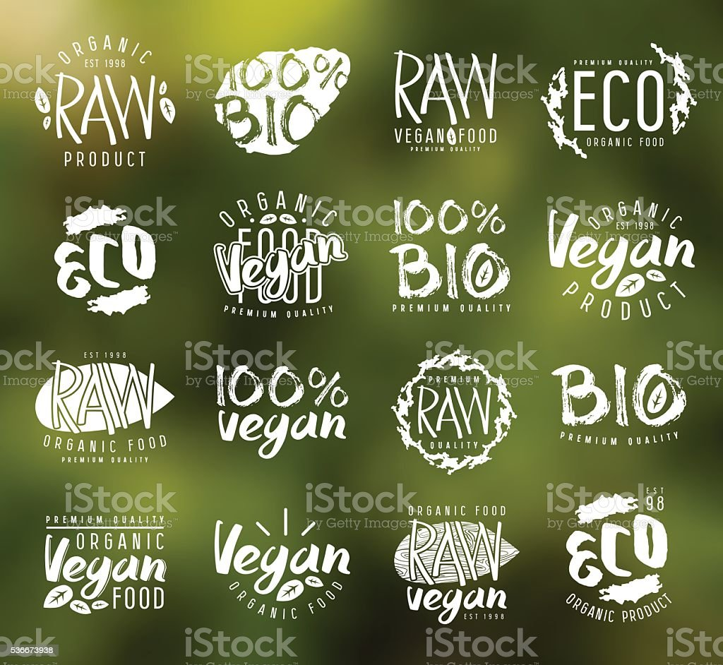Raw vegan labels, badges and design elements vector art illustration