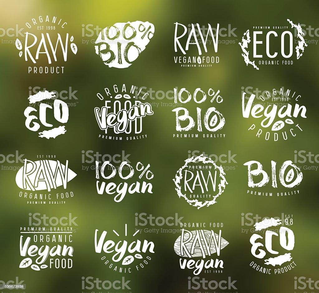 Raw vegan labels, badges and design elements vector art illustration