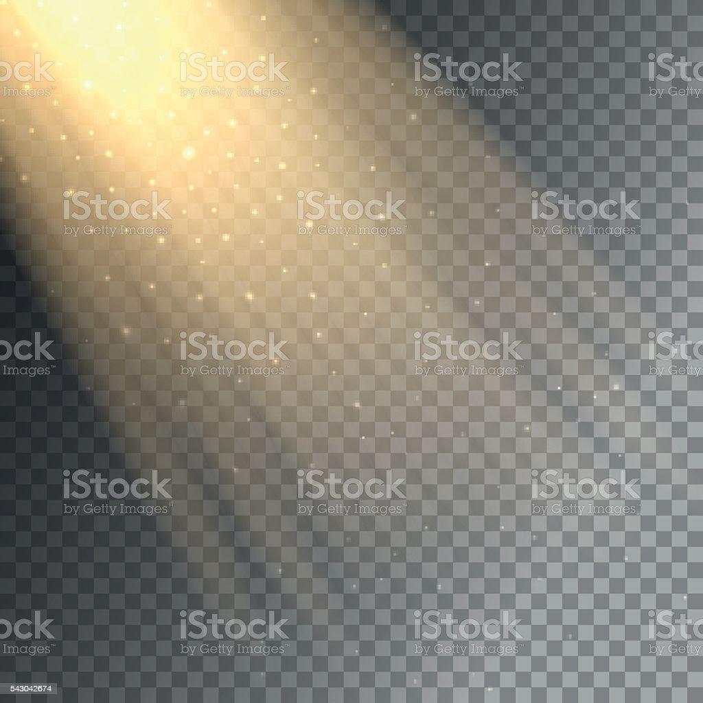 Ray of light on transparent background vector art illustration