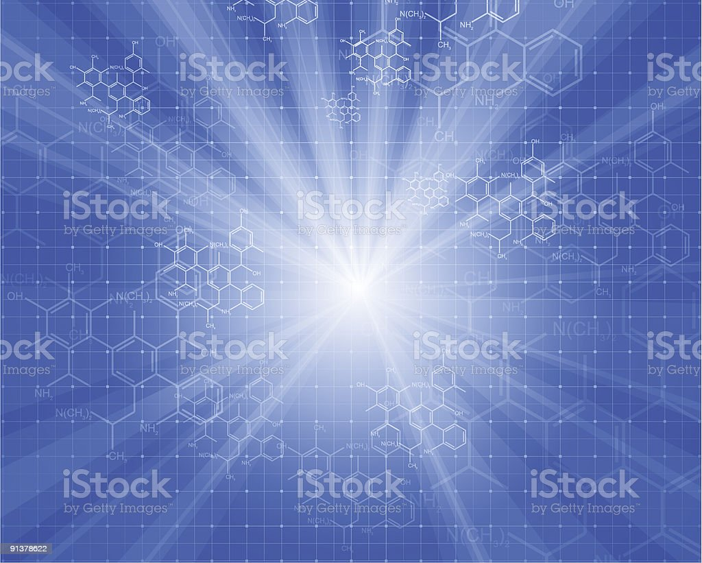 rays of light and chemical formulas royalty-free stock vector art