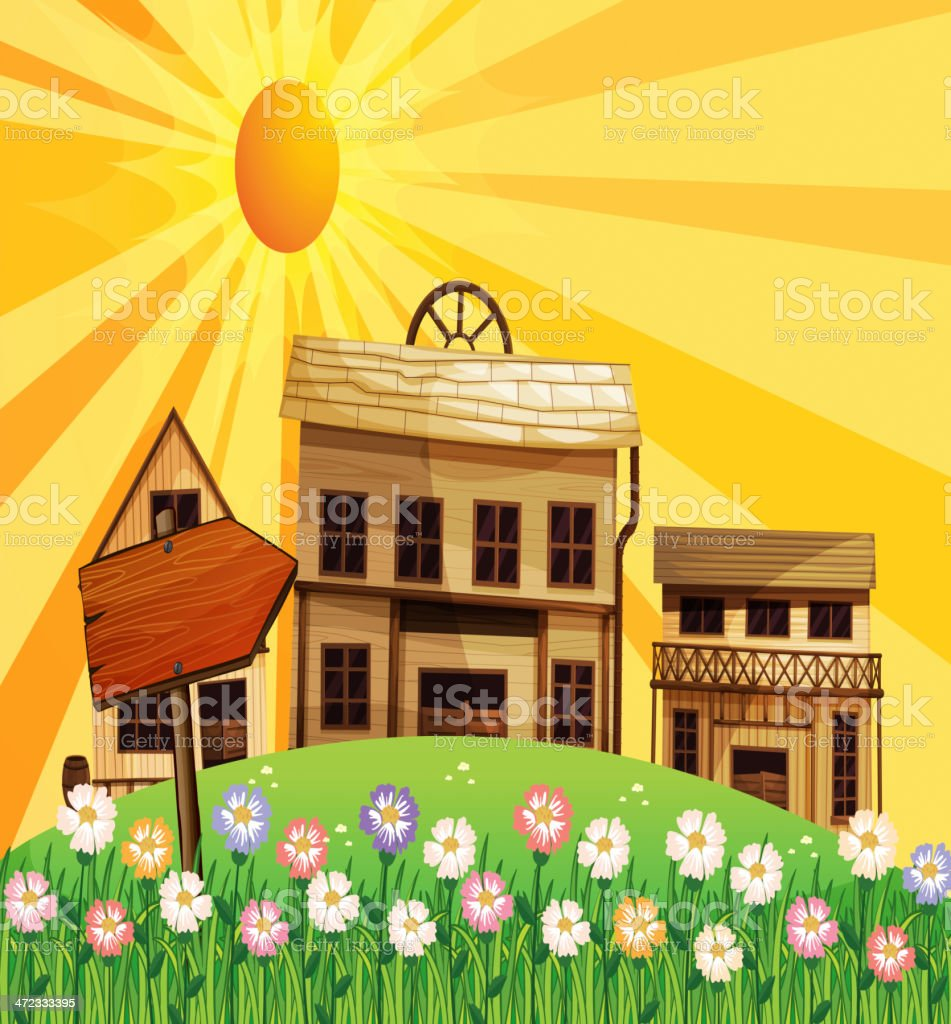 Rays of the sun and houses in neighborhood royalty-free stock vector art