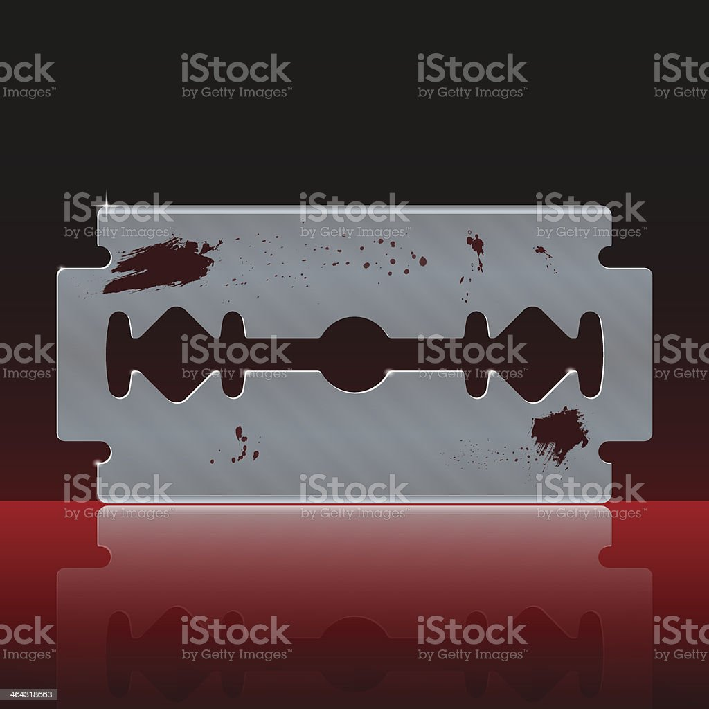 Razor Blade Stained with Blood vector art illustration