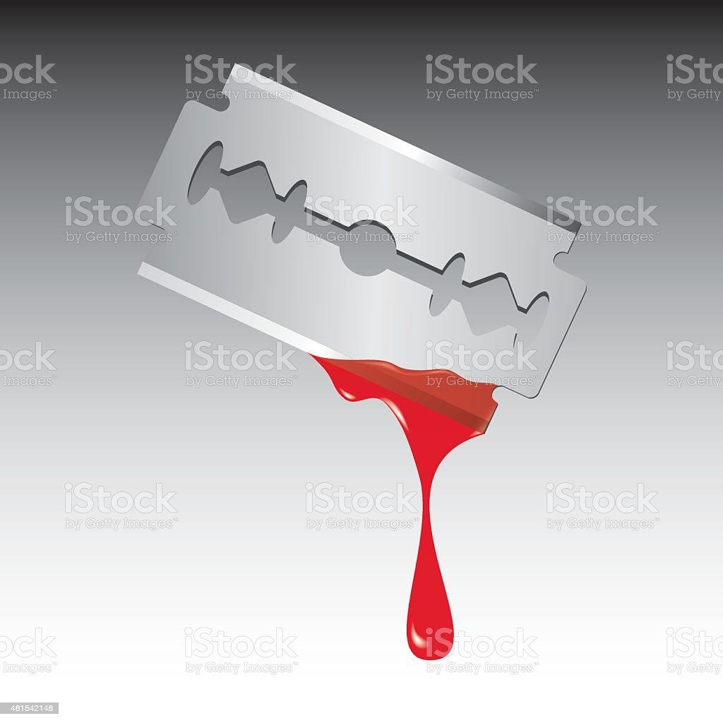 Razor blade with blood vector art illustration