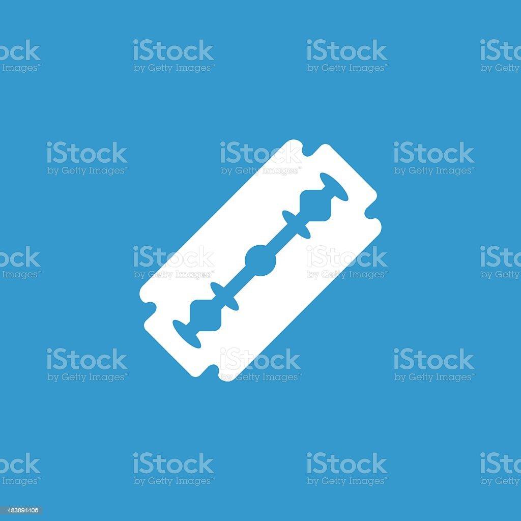razor icon, isolated, white on the blue background vector art illustration