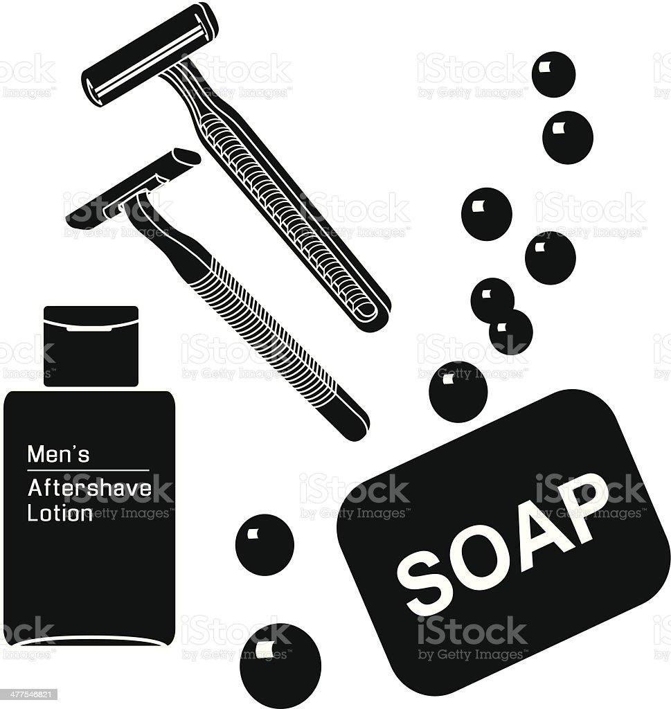 razors and aftershave lotion royalty-free stock vector art