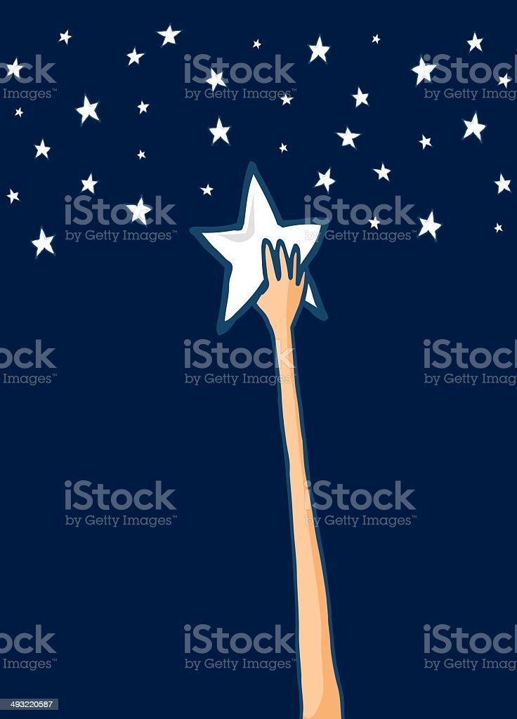 Reach for the stars or Success vector art illustration