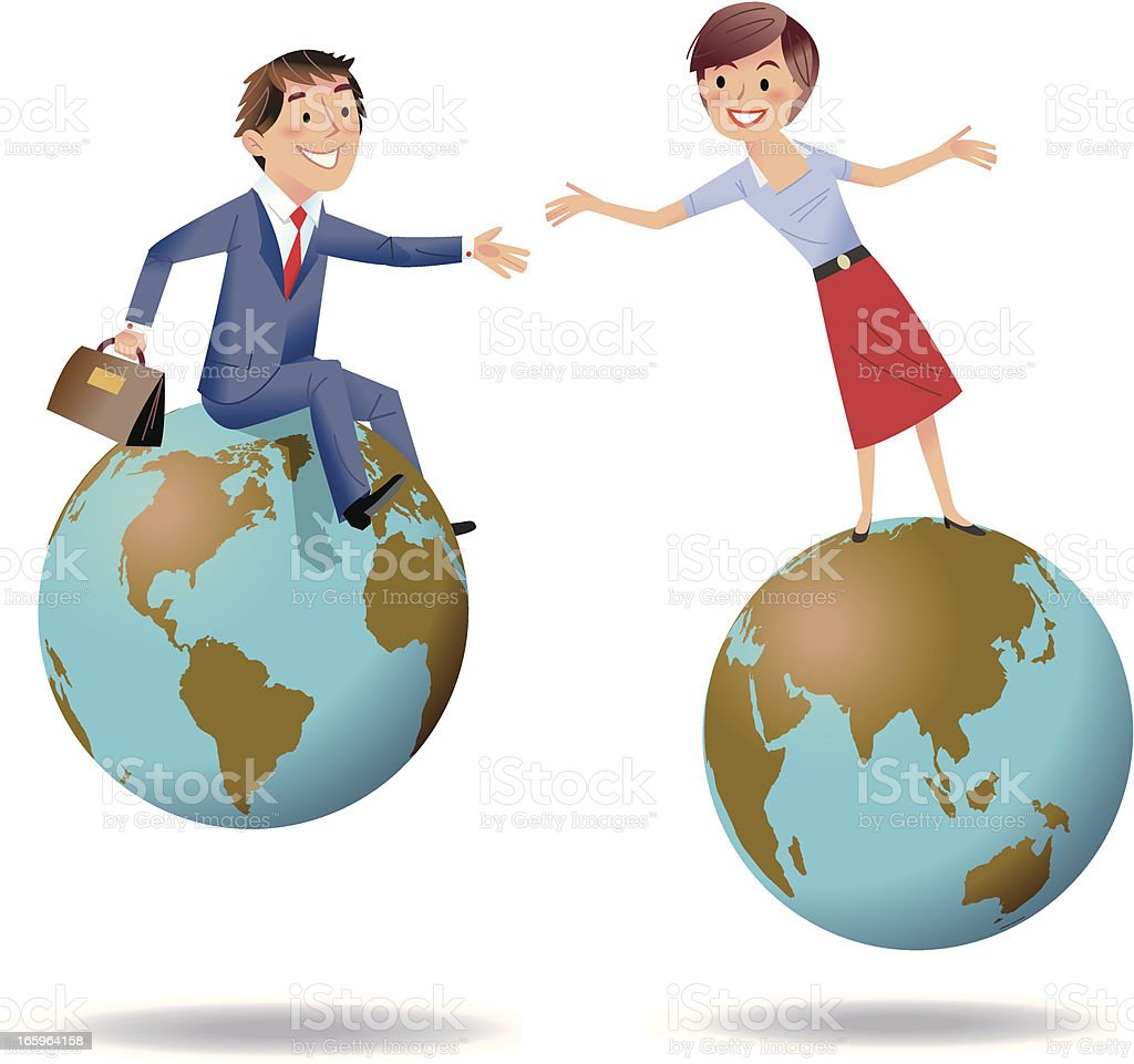 Reaching out across the world royalty-free stock vector art