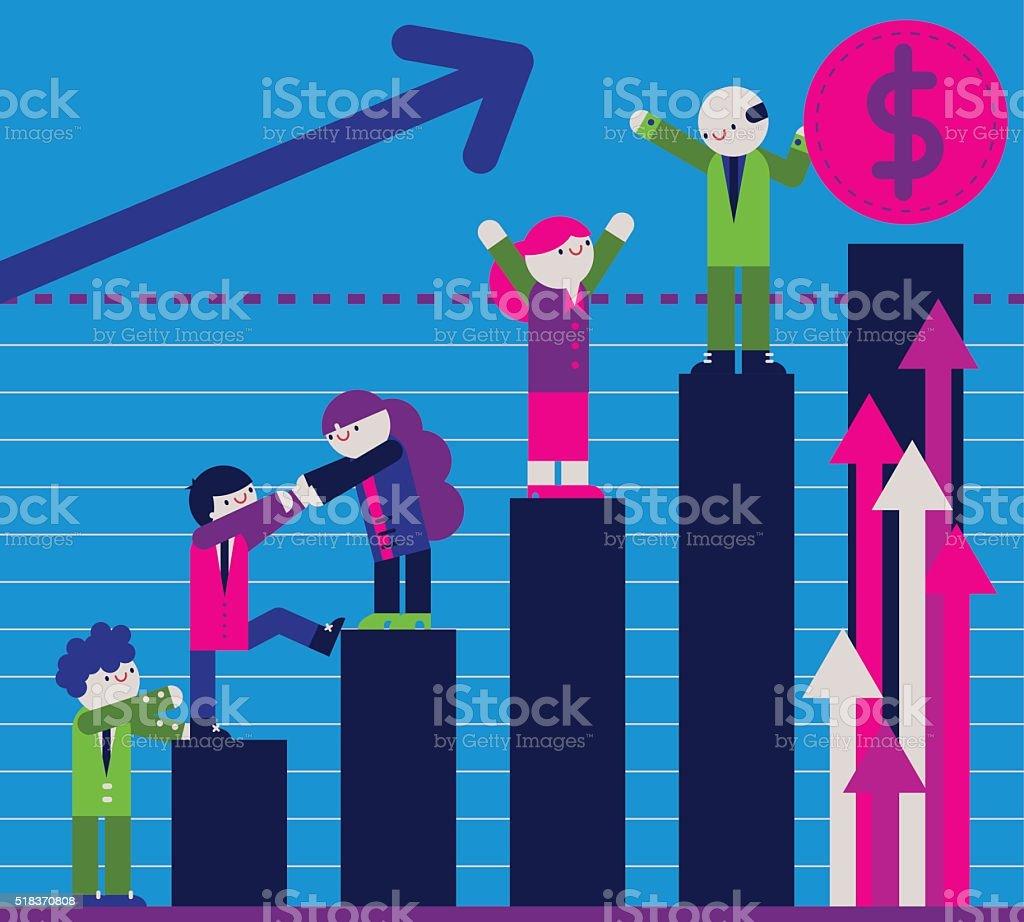 Reaching the Goals! vector art illustration