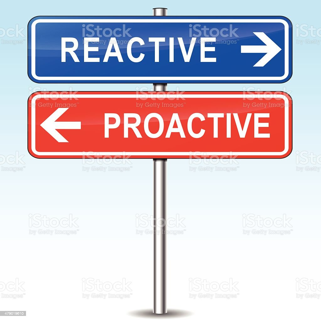 reactive or proactive choice vector art illustration
