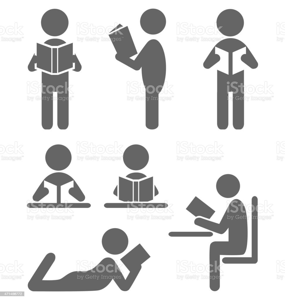 Read book people flat icons isolated on white vector art illustration