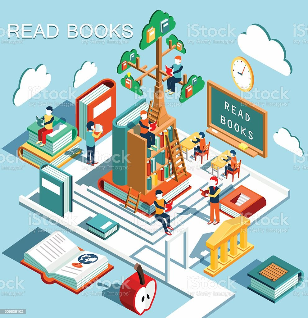 Read books in the library, isometric flat design vector art illustration