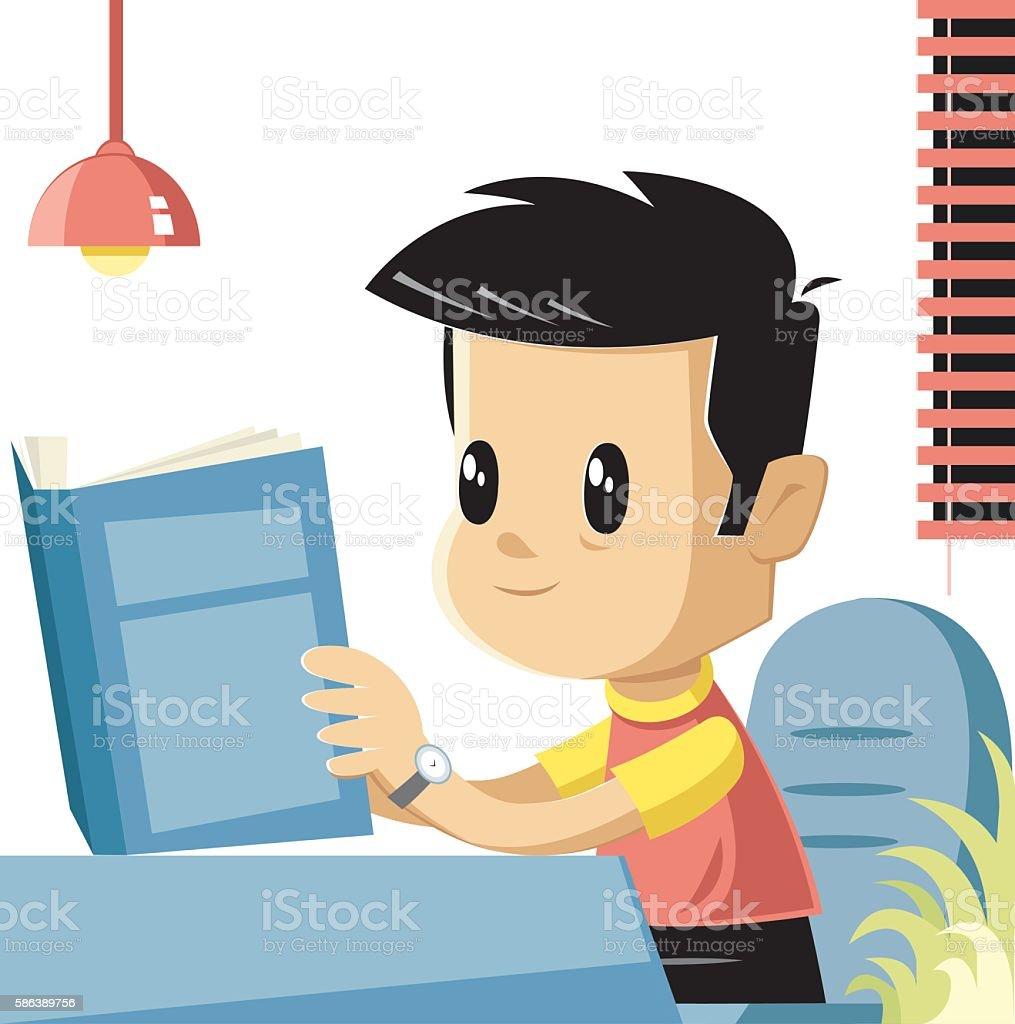 Reader boy vector art illustration