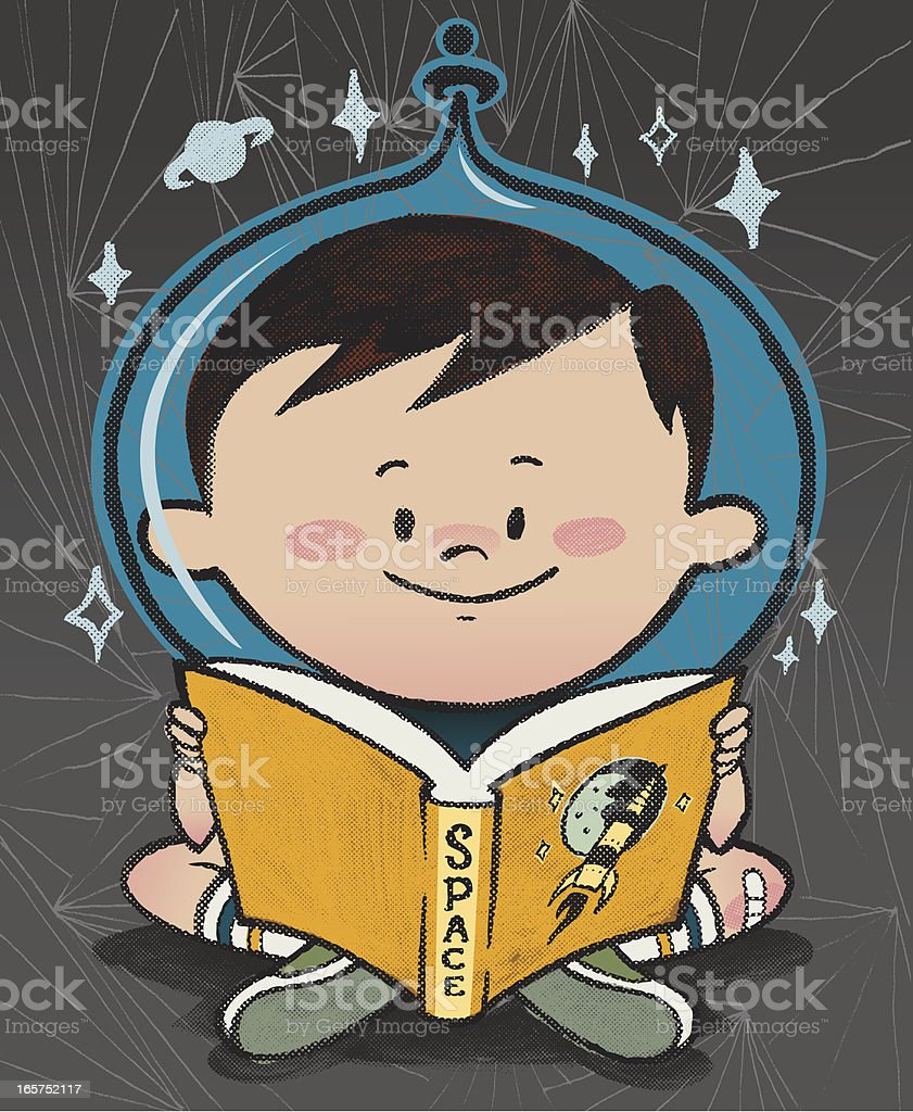 Reading about Space vector art illustration