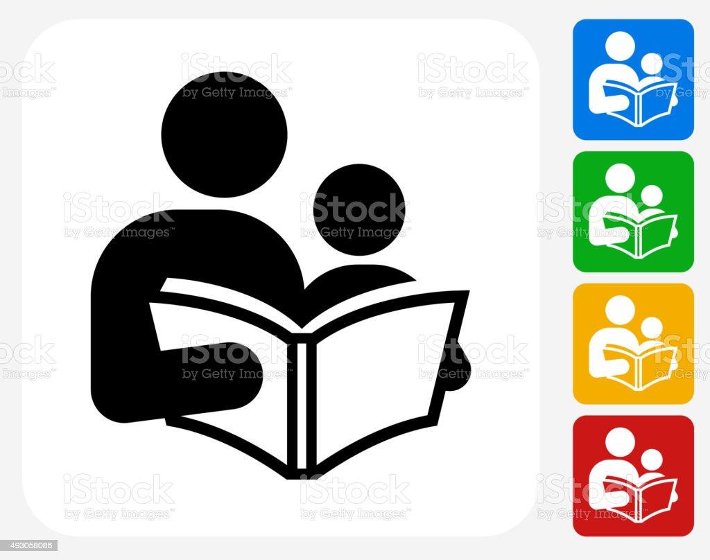 Reading and Children Icon Flat Graphic Design vector art illustration