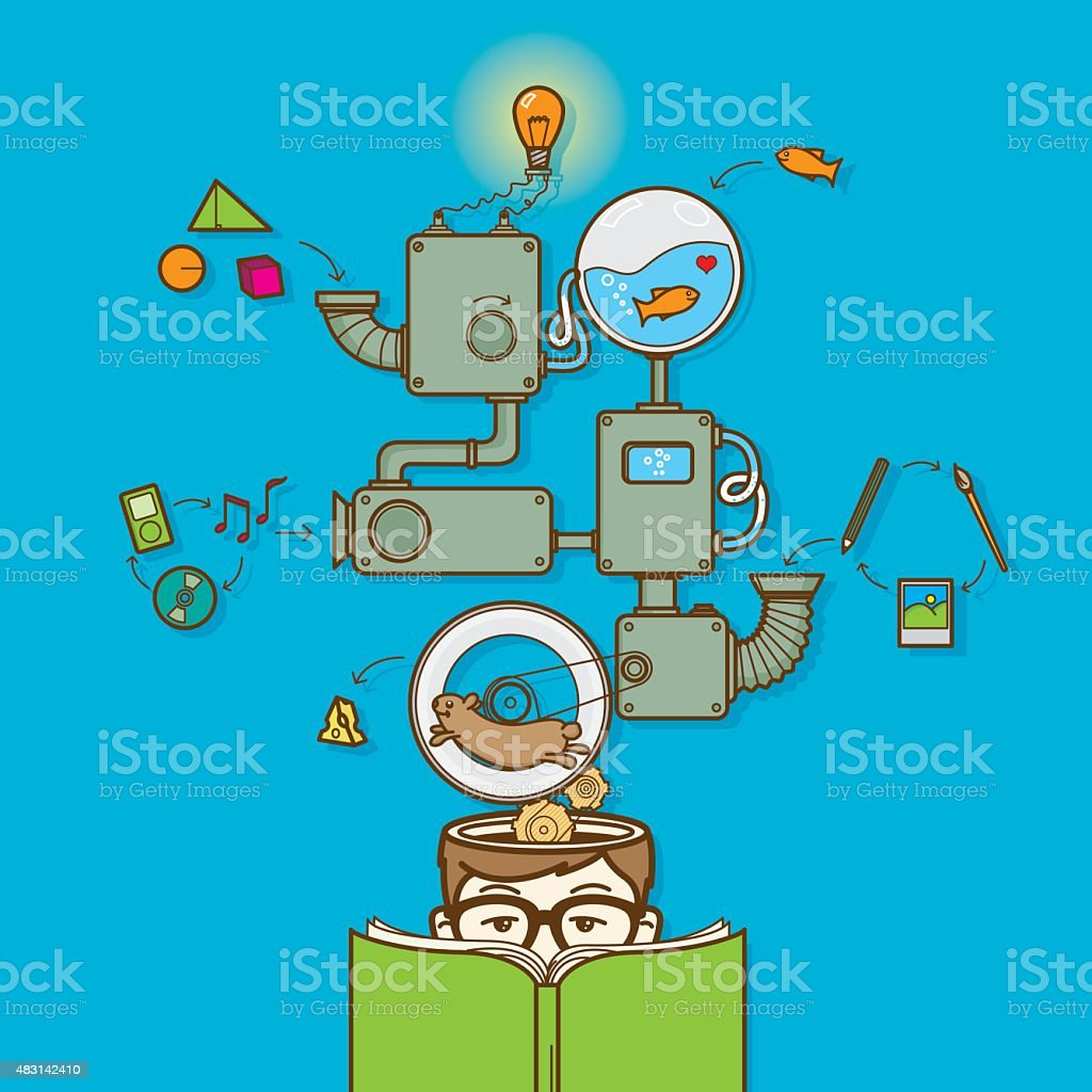 Reading book and creative thinking vector art illustration