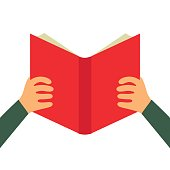 Reading book flat icon