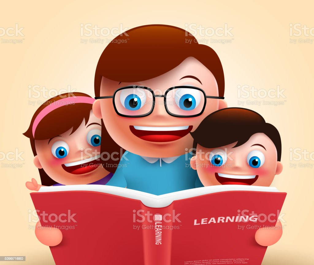 Reading book for story telling by teacher and kids vector art illustration