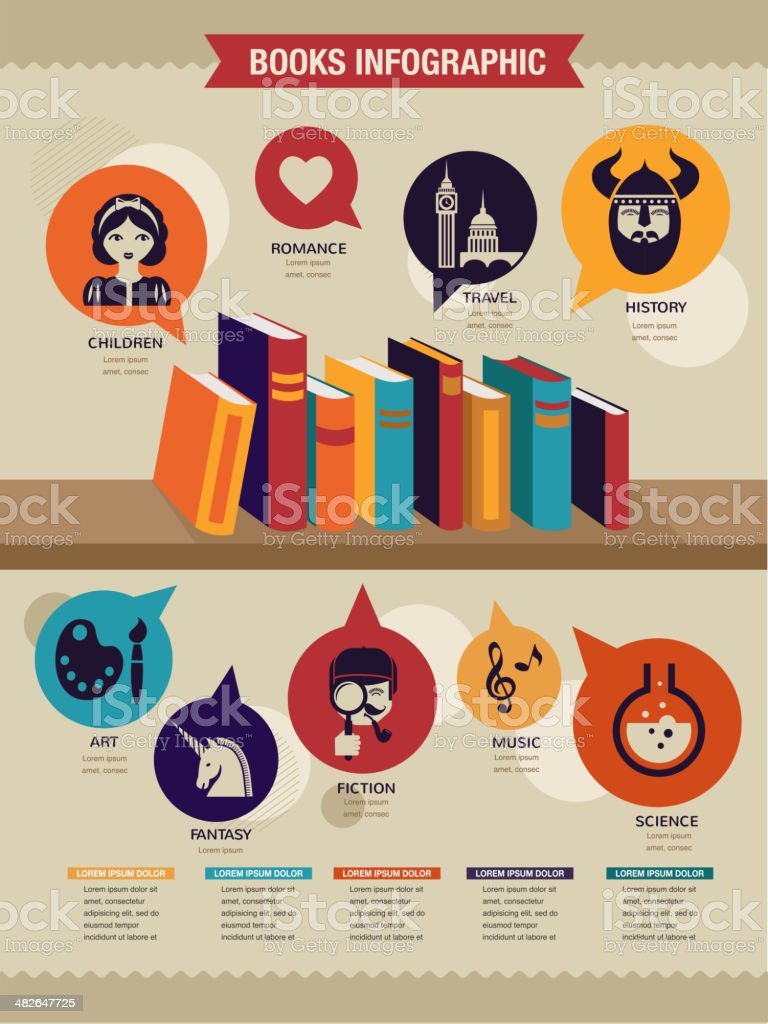 Reading books infographics, set of flat icons vector art illustration