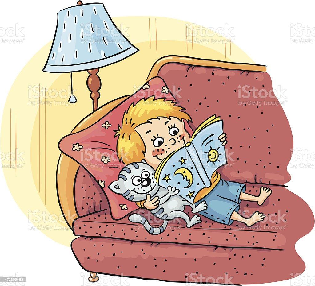 Reading boy vector art illustration