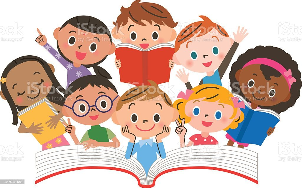 Reading children vector art illustration