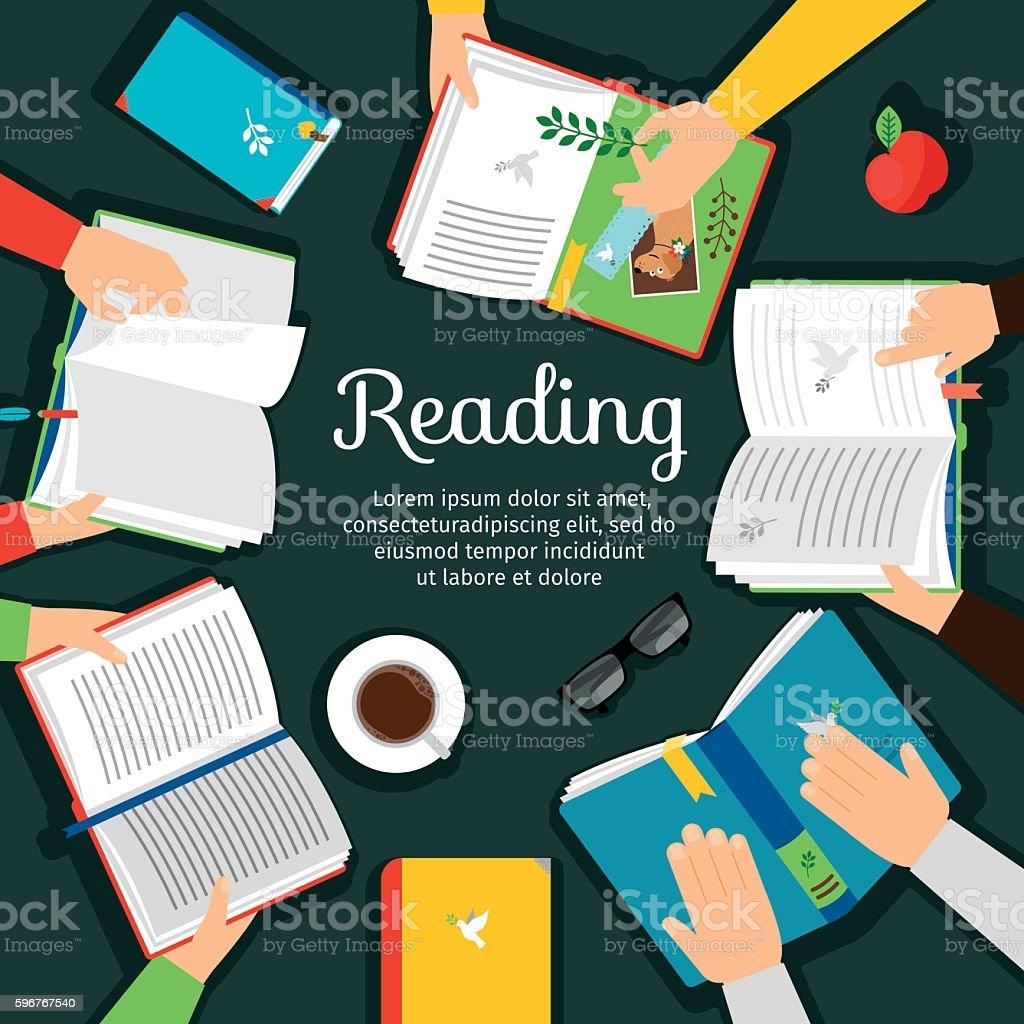 Reading club vector illustration vector art illustration