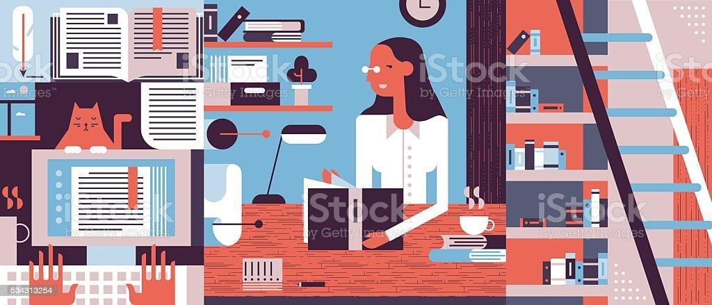 Reading concept background flat vector art illustration
