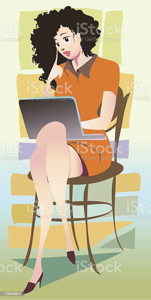 reading emails vector art illustration
