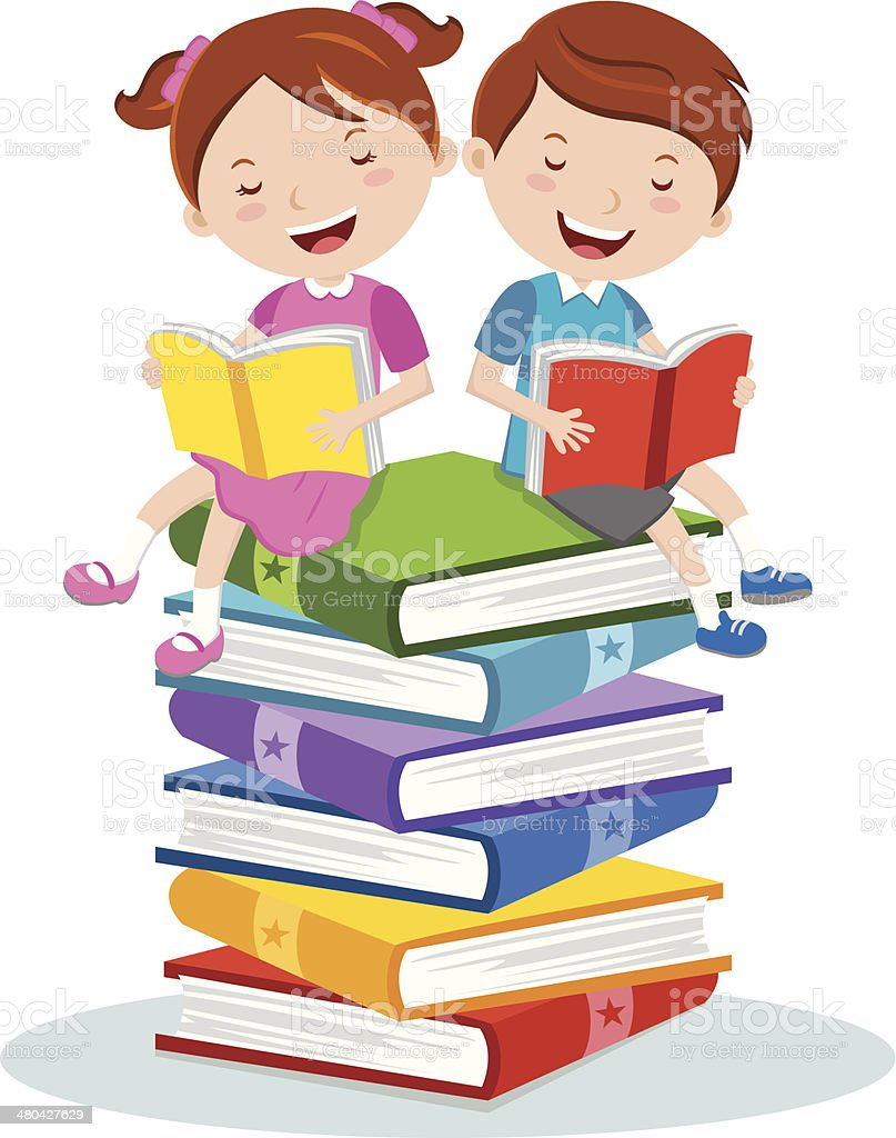 Reading for pleasure vector art illustration