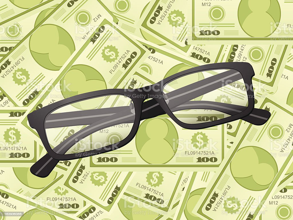 reading glasses on dollar background royalty-free stock vector art