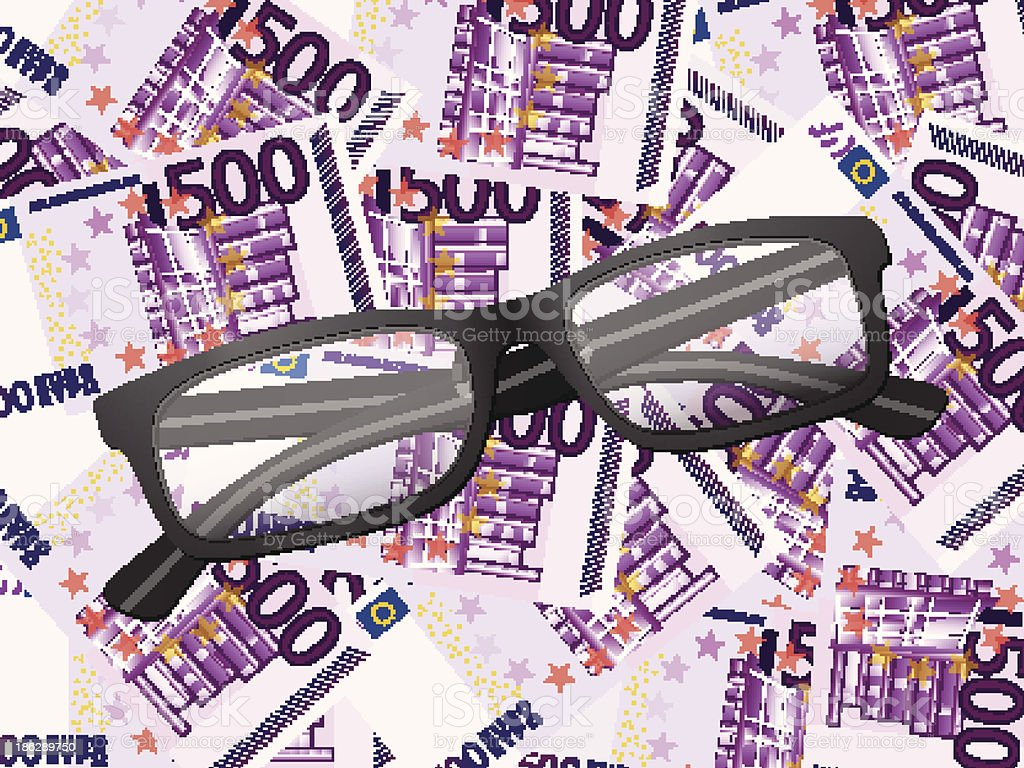 reading glasses on five hundred euro background royalty-free stock vector art