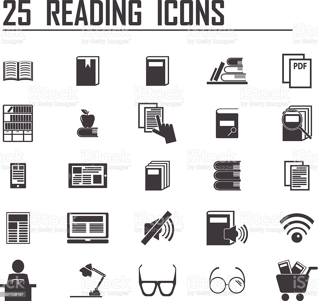 25 reading icons vector art illustration