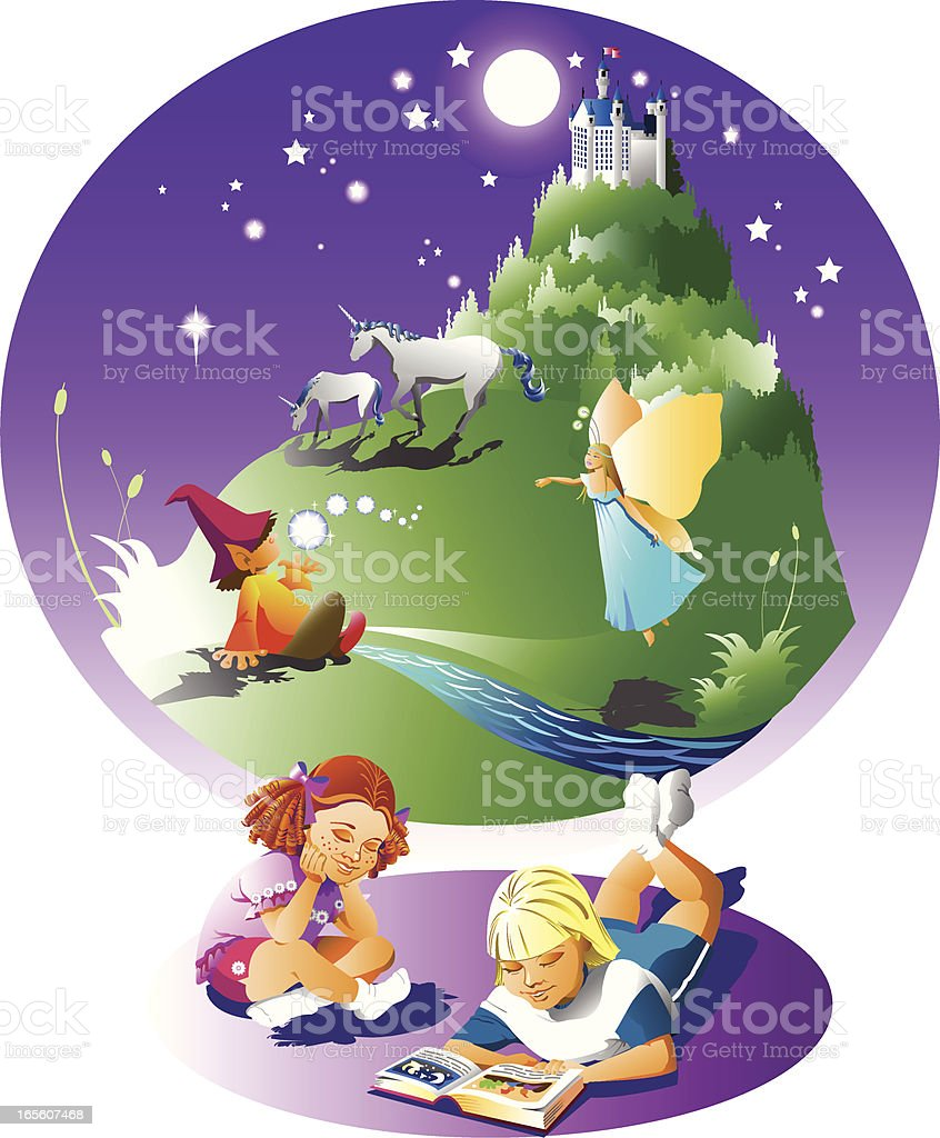 reading is good for imagination royalty-free stock vector art