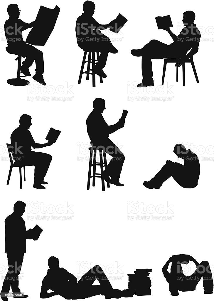 Reading men silhouettes royalty-free stock vector art