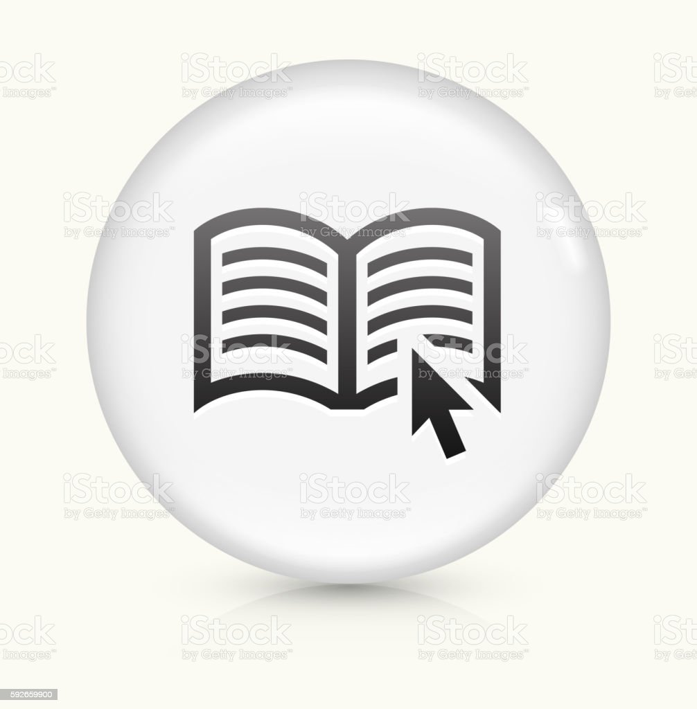 Reading Online icon on white round vector button vector art illustration