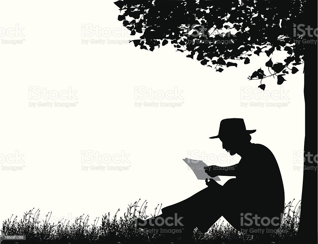 Reading Outdoors Vector Silhouette royalty-free stock vector art