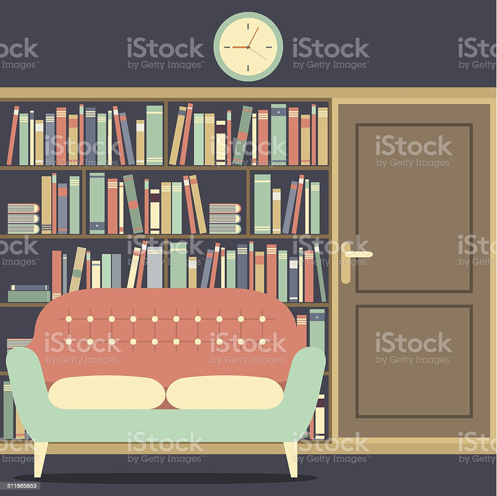 Reading Seat In Front Of A Huge Bookcase vector art illustration