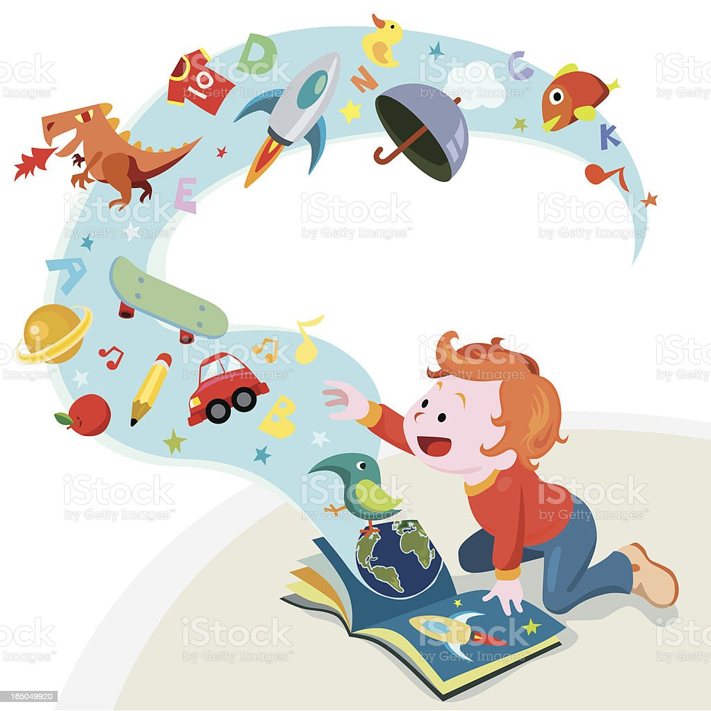 reading story book vector art illustration