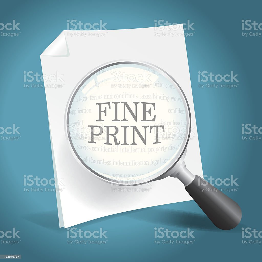 Reading the Fine Print royalty-free stock vector art
