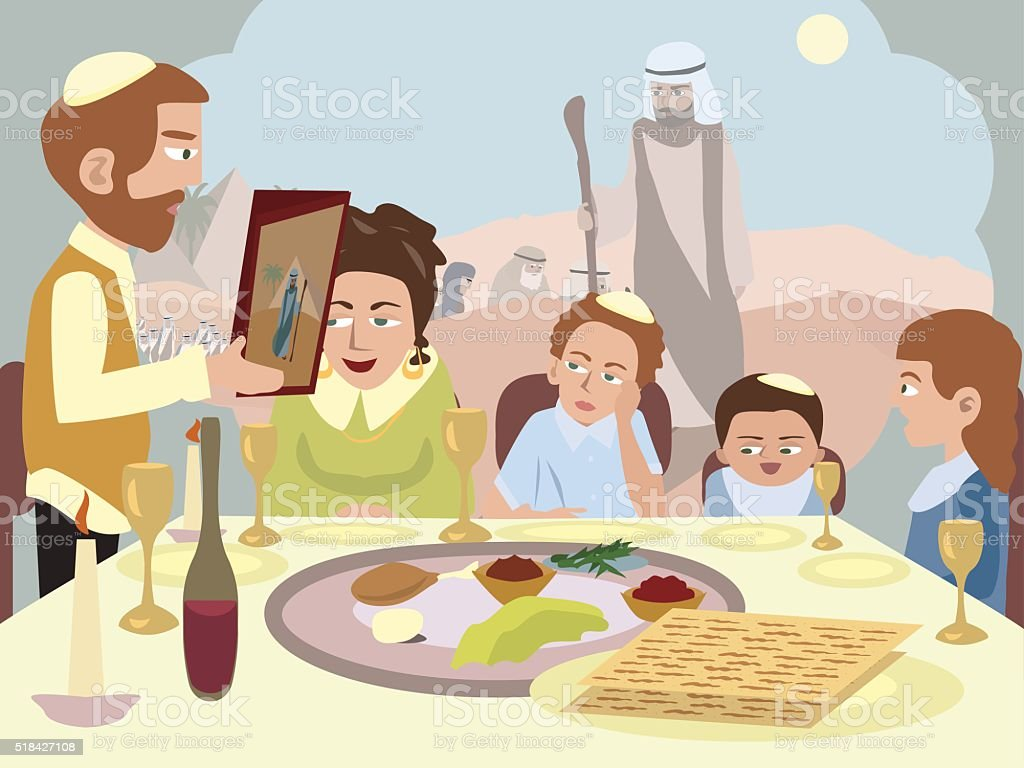 Reading the Haggadah at Seder table vector art illustration