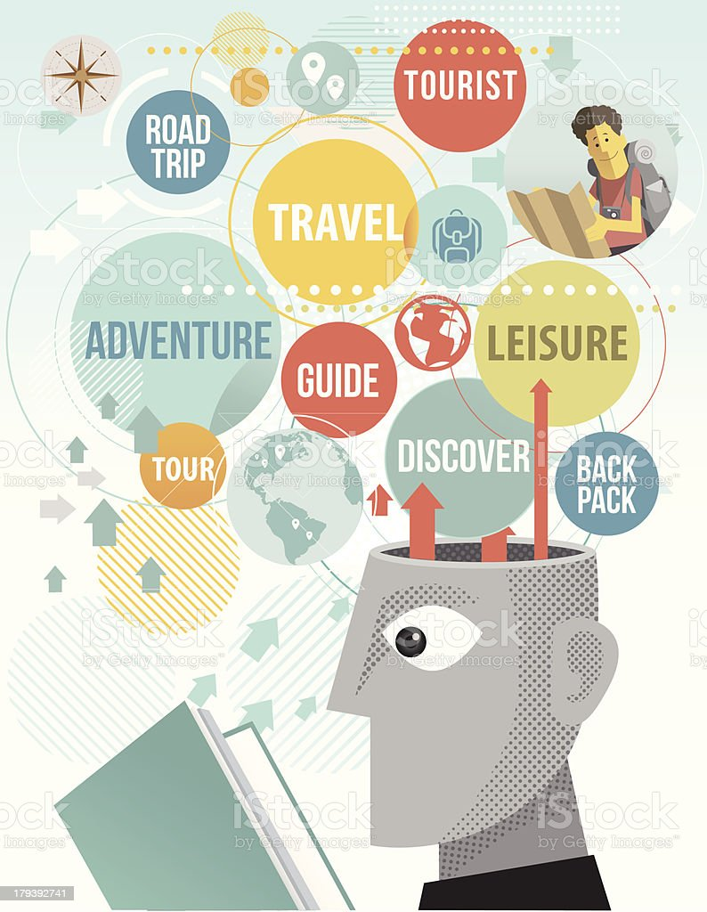 reading travel guide royalty-free stock vector art