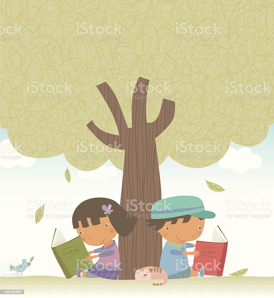 Reading under the tree royalty-free stock vector art