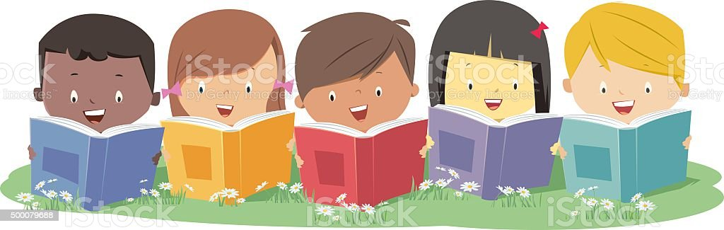 Reading vector art illustration