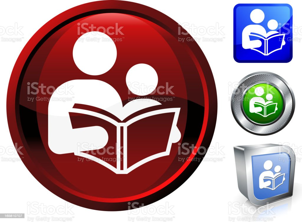 Reading with child royalty free vector button set royalty-free stock vector art