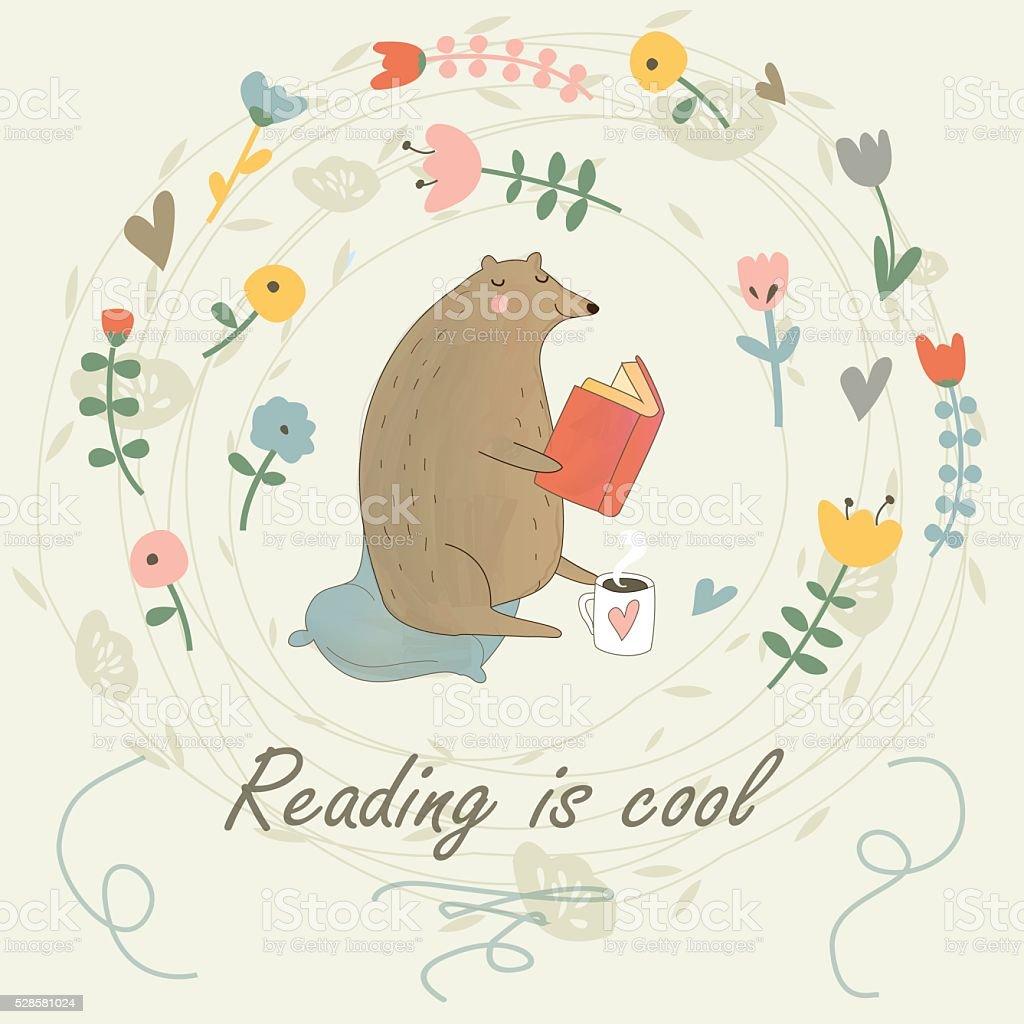 readingbear vector art illustration